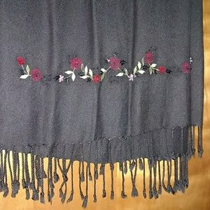 Accessories - Black fringed wrap with red roses embroidery